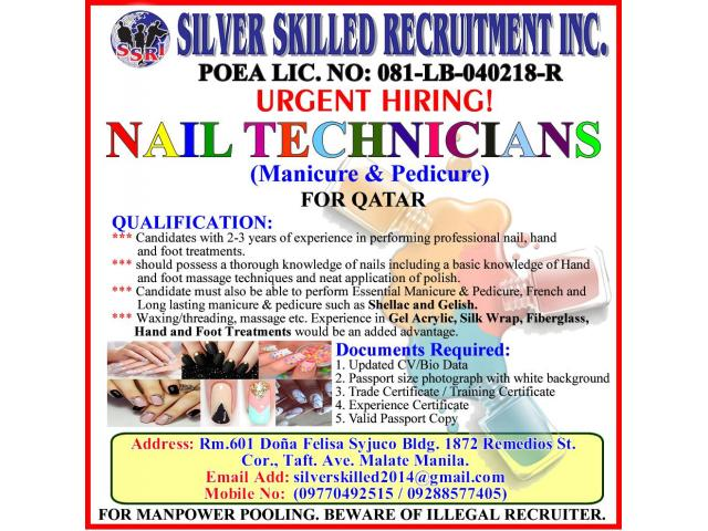 NAIL TECHNICIANS (Female) for QATAR